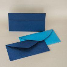 Сини пликове американски формат с прав и объл капак. Светло синя и тъмно синя релефна хартия, 120 г.